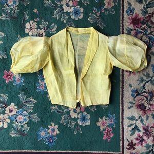 1930s/1940s Cotton Duckling Yellow Cropped Bolero